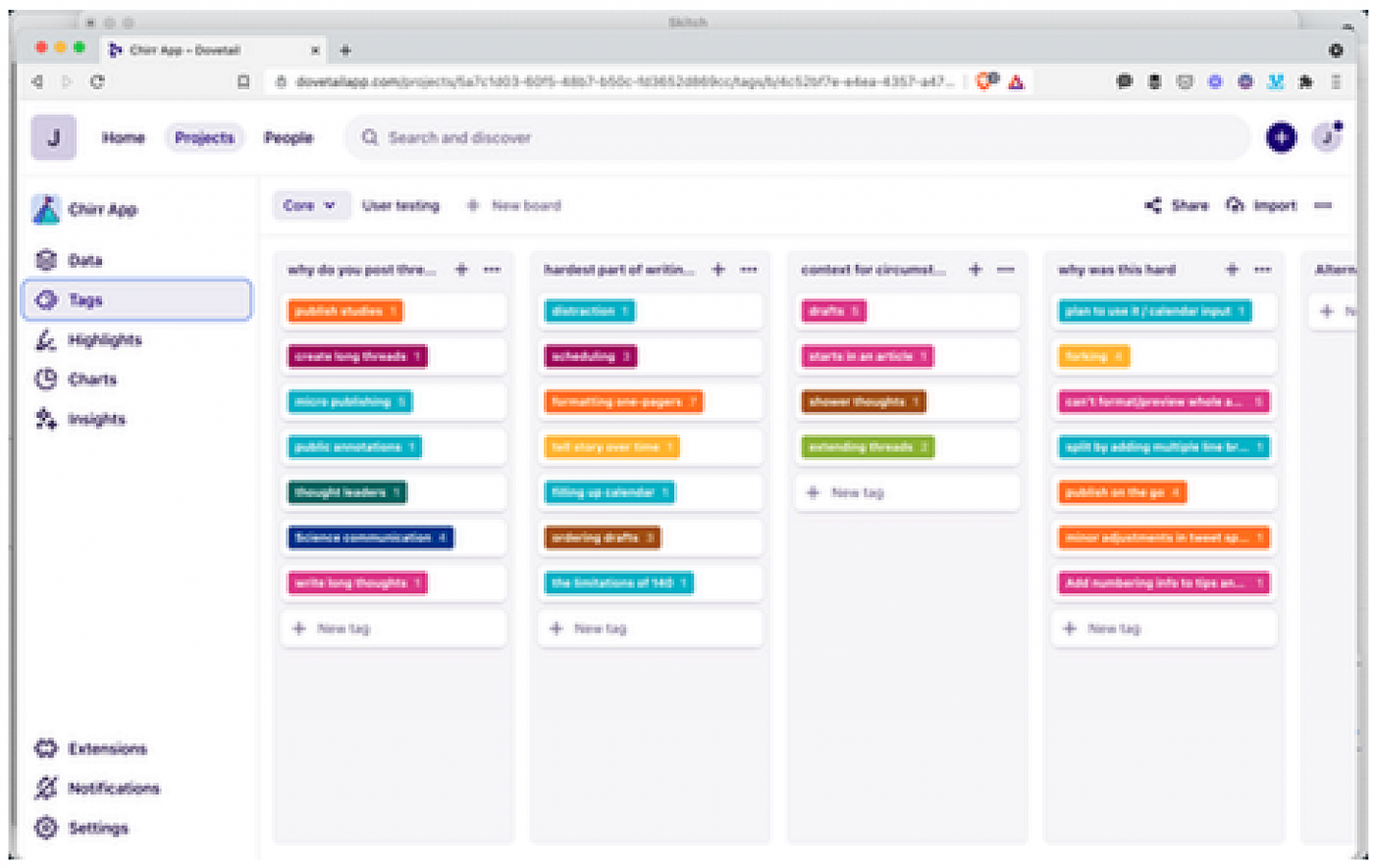 Organising customer discovery insights in column on a Kanban board